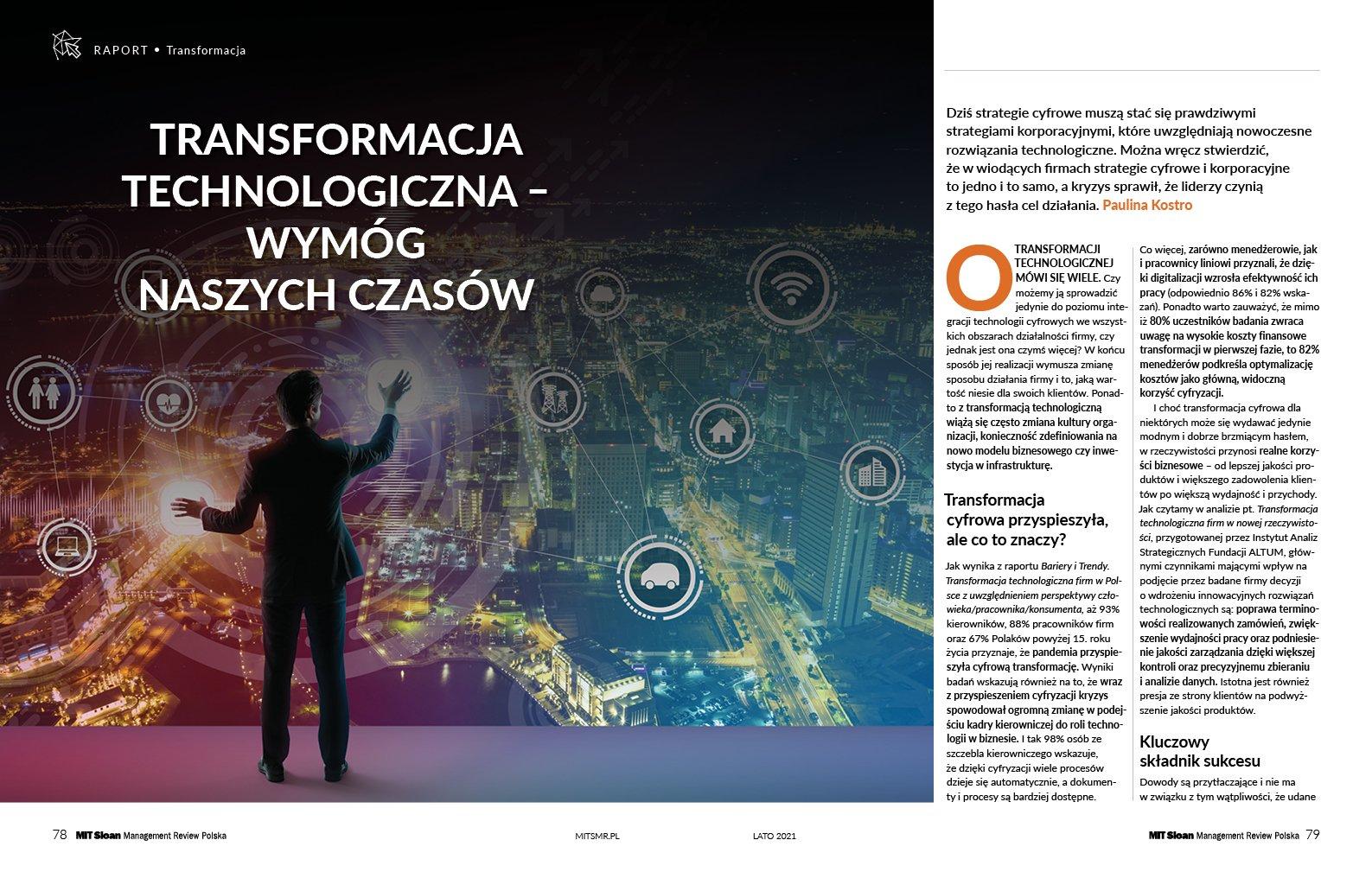 Transformacja technologiczna - wymóg naszych czasów